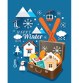 Suitcase with Winter Icons vector image