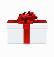 Modern red bow with white gift box vector