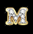 letter m gold and diamond vector image