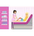 beautician waxing woman leg at spa or beauty salon vector image
