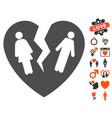 broken family heart icon with love bonus vector image