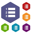 Numbered list rhombus icons vector image
