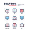 programming - modern line icons set vector image