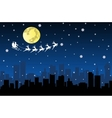 Santa Flying with sledge on Night City vector image