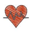 color crayon stripe cartoon shape heart with life vector image
