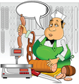 Butcher with meat vector image vector image