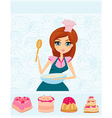 Beautiful girl cooking cakes vector image