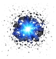 Blue flaming meteor explosion isolated on white vector image