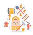 Character firefighter in coveralls and helmet vector image