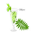 mojito cocktail isolated on white vector image