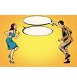 Retro man and woman dancing pop art vector image