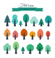 set with colored flat trees vector image