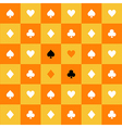 Card Suits Yellow Orange Chess Board Background vector image