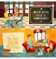 People In Restaurant Horizontal Banners vector image