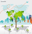 Tree shaped world map with building background vector image vector image