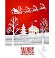 christmas paper art with santa vector image