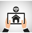 hand hold tablet wifi web page icon vector image