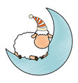 moon with sheep sleeping vector image