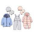 Winter clothes for baby vector image