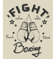 Retro monochrome label with boxing gloves vector image vector image