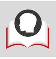 silhouette head boy student open book vector image