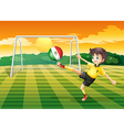 A girl kicking the ball with the Mexico flag vector image vector image