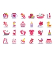 Newborn Baby girl icons setBaby shower kit vector image