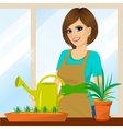 attractive lovely housewife on the balcony vector image