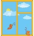 Window with sky sun and butterflies vector image