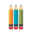 cartoon three pencil school design vector image