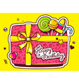 gift box top view and confectionery with vector image