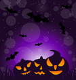 Halloween ominous pumpkins on moonlight background vector image