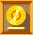 gold record music disc icon flat style vector image vector image