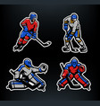 hockey players and goalkeepers set vector image