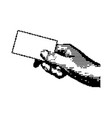black 8-bit right hand holding blank card vector image