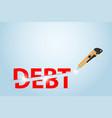 cutter knife cutting debt word financial concept vector image