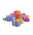 Group of bright colorful wrapped gift boxes on vector image