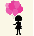 silhouette girl with balloons vector image