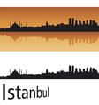 Istanbul skyline in orange background vector image vector image