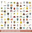 100 archaeology icons set flat style vector image