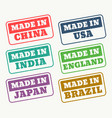 set of rubber stamps for made in china usa india vector image