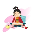 Young Girl Reading Book vector image