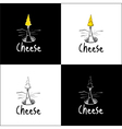 Sketchy Mouse and Cheese Logo vector image