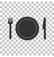 Fork plate and knife Dark gray icon on vector image
