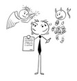 cartoon of businessman or salesman offering vector image