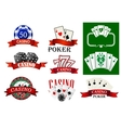 Casino and poker emblems or badges vector image