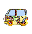 Hippie vintage car a mini van vector image