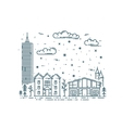 Winter Cityscape in trendy linear style vector image