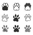 Paw icon set vector image