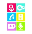 Neon colored flat music icons vector image vector image